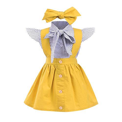 Toddler Outfits Girl Clothes Summer Dots Plaid Bowknot Blouse Shirt Suspender Skirt Set Overall School Uniform Dress (Sleeveless Blouse + Yellow Suspender Skirt Headband 3PC, 3T)