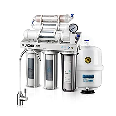 Ukoke Technology 6 Stages Drinking Water Filter and Softener System with RO membrane, Under-Sink Healthier pH+ Reverse Osmosis Drinking Water System, NSF & WQA Gold Seal Certified