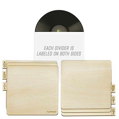 """TunePhonik Two-Sided Laser Etched Wooden Record Dividers to Organize 12"""" Vinyl LPs, Set of Six"""