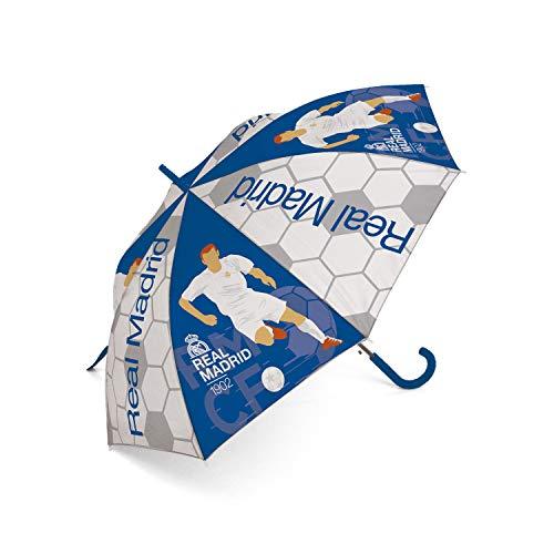 ARDITEX Real Madrid Regenschirm aus Polyester, CF, 8 Paneele, Durchmesser 86 cm, automatische Öffnung, Camping, Wandern, Erwachsene, Unisex, Mehrfarbig (Mehrfarbig), Einheitsgröße