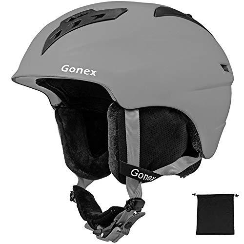 Gonex Ski Helmet - ASTM Certified Safety - Winter Snow Helmet Snowboard Skiing Helmet with Safety Certificate for Men, Women, Youth, Storage Bag (Grey L)