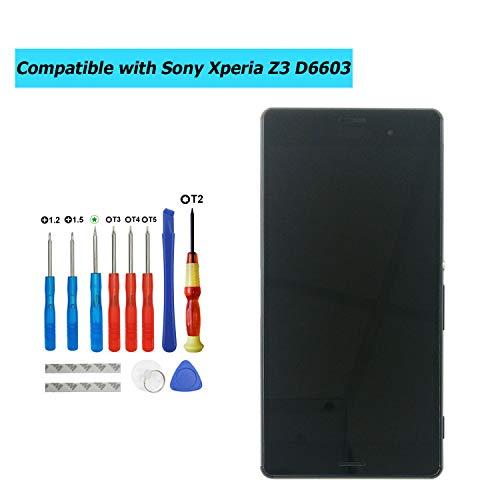Upplus Ersatz LCD Display Kompatibel Für Sony Xperia Z3,D6603,D6643,D6653,L55u,L55t Ersatzteil Reparatur Anzeige LCD Touch Screen Digitizer Assembly Glass with Rahmen with Toolkit (Schwarz)