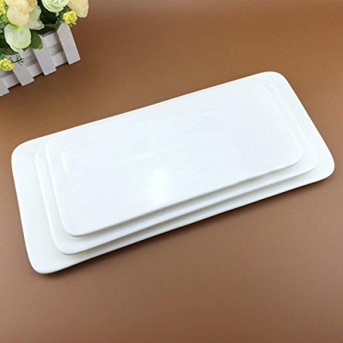Axiba- Plateau Blanc Pur Rectangulaire Plat Créatif Plaque De Gâteau De Plaque De Sushi Plaques De Bande Céramique,18Inches