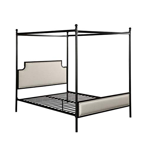 Christopher Knight Home Asa Queen Size Iron Canopy Bed Frame with Upholstered Studded Headboard, Beige and Flat Black