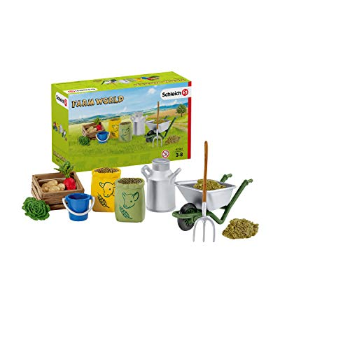 Schleich 42301 Farm World Spielset - Fütterung der Bauernhoftiere, Spielzeug ab 3 Jahren