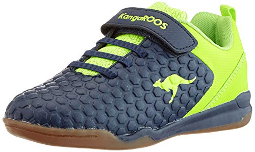 KangaROOS Unisex-Kinder Speed Court EV Sneaker, Blau (Dk Navy/Lime 4054), 32 EU