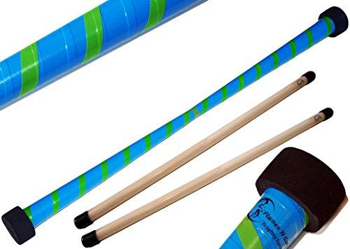 TWIST Devilstick (Blau/Grun) inkl. Holz Handstäbe mit 2 mm Silikonmantel von Flames N Games Devil stick Set Für Kinder und Erwachsene.