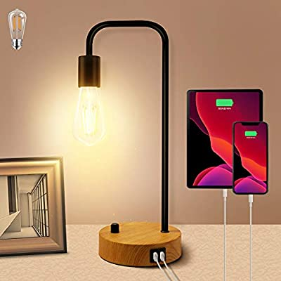 Qimh Industrial Table Lamp,Dimmable Nightstand Lamp with 2 USB Charging Ports,AC Outlet & Vintage St64 E26 Edison LED Bulbs,Metal Desk Lamp Bedside Lamp for Dorm, Office, Bedroom, Living Room