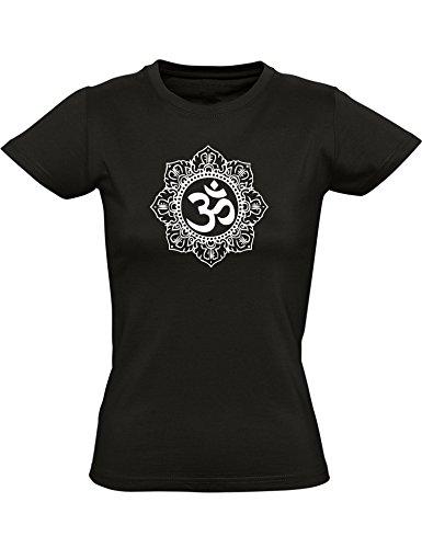 T-Shirt: Om Mantra - Yoga Tee-Shirt - Cintré - Femme-s - Fille-s - Sport - Méditation - Fitness - Gym - Zen - Hindouisme - Inde - Bouddha - Namaste - Cadeau - Chakra - Soul - Relax (S)