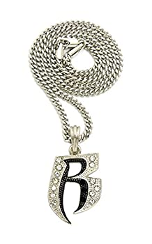 Crescendo SJ INC ICED OUT  R  RUFF RYDERS PENDANT & 24  VARIOUS CHAINS HIP HOP NECKLACES - XSP323  Silver/Cuban Chain