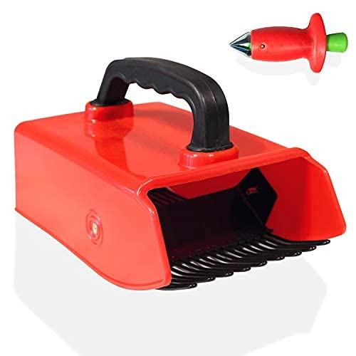 Recogedor de bayas de plástico y rastrillo colector con mango ergonómico de tacto suave y dientes de metal recubiertos - para Berry..