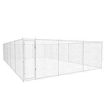 FAMIROSA Outdoor Dog Kennel Galvanised Steel 31.2x18.7x6.1