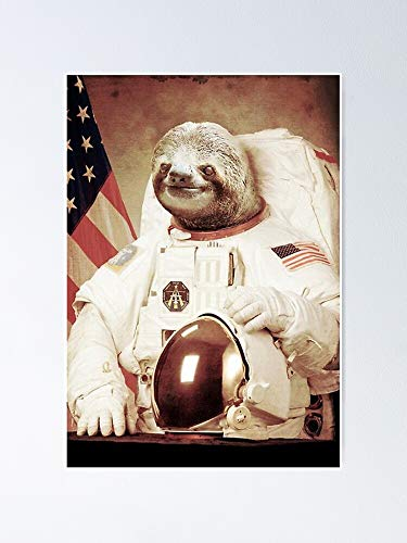 GAVIMAX Astronaut Sloth Poster | No Frame Board for Office Decor, Best Gift Family and Your Friends 11.716.5 Inch