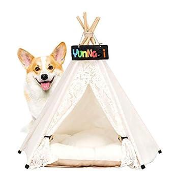 YunNasi Tente pour Chien ou Chat Maison pour Chien et Chat avec Coussin Amovible Niche à Chien Lit de Chien (40x40x50cm, Dentelle Blanche)