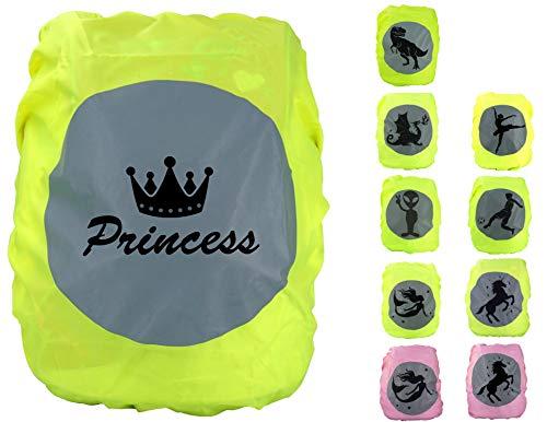 EANAGO Premium Schulranzen/Rucksack Regenschutz/Regenüberzug, ohne Nähte, 100{2334ba55ad7bd86b3bffbdce46364df964dea91e017bd2af3496abfe6bc3c595} wasserdicht, mit Sicherheits-Reflektionsbild Princess