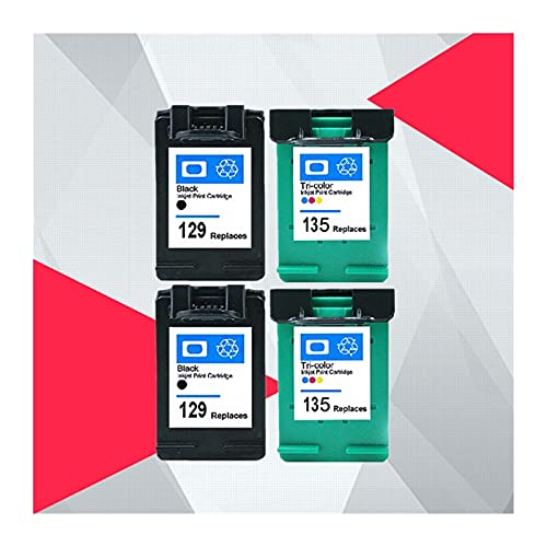 ZIJ Compatible con HP 129 135 Photosmart C4140 C4150 C4170 C4173 C4175 C4180 C4183 C4188 C4190 Cartucho de tinta para HP129 Hp135 (Color: 2BK 2COLOR)