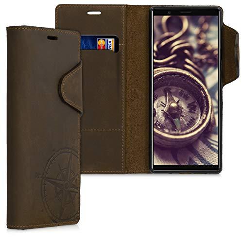 kalibri Sony Xperia 5 Hülle - Leder Handyhülle für Sony Xperia 5 - Handy Wallet Case Cover - Kompass Vintage Design Braun