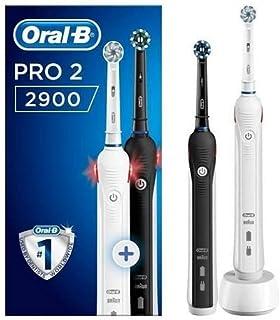 Oral-B - Pro 2 2900 Elektrisk Tandborste, Svart och Vit - 2 Bitar