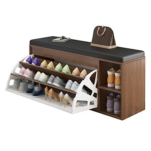 FEIYIYANG Zapato Rack Multifuncional Banco Zapato Estante Almacenamiento Rack-Salón Corredor Dormitorio Aisle Zapato Almacenamiento Rack 3-Capa Asiento Cambio de Zapatos Organizador (Color : Brown)