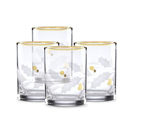 Lenox Holiday Gold Double Old Fashioned 4-Piece Glass Set Clear, 2.50 LB