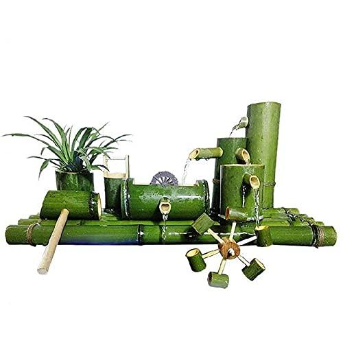 Cakunmik Bambus-Wasserbrunnen Mit Wasserpumpe Wasserspiel Auslauf Indoor Outdoor Fließende Zen-Gartendekoration,Haushalts-Mini-Wasserzirkulator 50cm,90cm