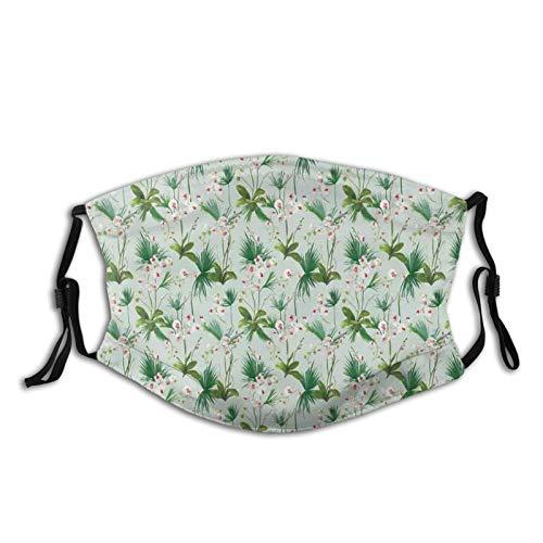 FULIYA Gezichtsmaskers Wasbaar Herbruikbaar voor Vrouwen Mannen, Tropische Areca Palm Bladeren Met Wilde Bloemen Shabby Motief, 5.9x7.9Inch Medium Unisex Adult