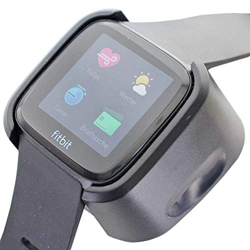 AccuCell - Cargador para Fitbit Versa (con cable USB, 1 m), color negro