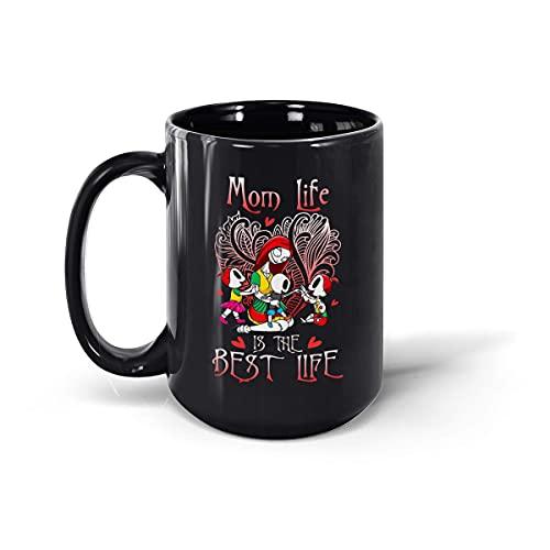 Taza de café de cerámica con texto 'Mom Life is Best Life', color negro, 15 onzas