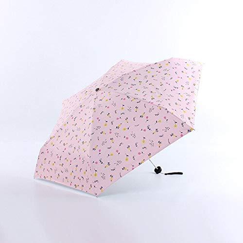 DJMJHG Uv Fresco Flores Pequeñas Patrón 5-plegable Mini Paraguas De Bolsillo Para Las Mujeres Anti-UV Pequeño Sombrilla Paraguas YD200293PK