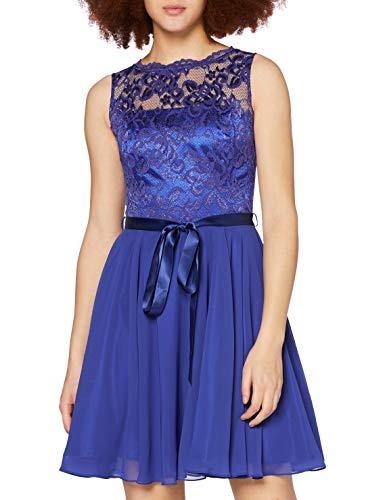 Preisvergleich Produktbild Swing Damen Kleid mit Floraler Spitze Blau (Royalblau 3333),  34