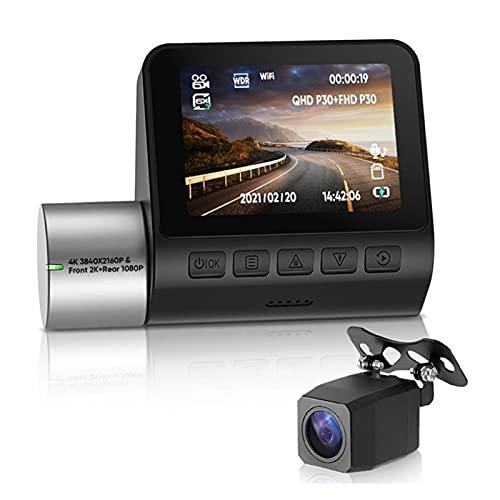 YAOSHI Receptor de Radar 2K 4K HD Dash CAM Night Vision Vision Recorder Trasero Dash Cámara Dual Vista CAM WiFi Hidden Video Cámara Coche DVR 24H Aparcamiento GPS Localizando