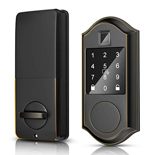 Narpult Smart Door Lock, Fingerprint Electronic Deadbolt Door Lock, Keyless Entry Door Lock Featuring Auto-Locking, Smart Door Lock for APP/FOBS/Biometric/Codes/Keys, Works with Alexa - Bronze