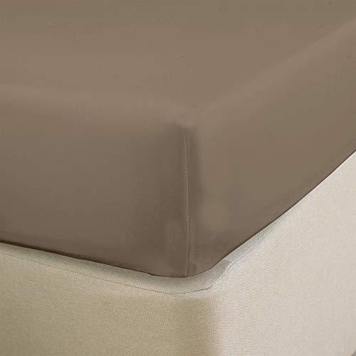 Nimsay Home Spannbettlaken für Einzelbett, Doppelbett, King-Size, Super-King-Size, 22,9 cm dick, unifarben, Poly-Baumwoll-Mischgewebe - Einzelbett - Taupe