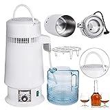 DCHOUSE destilador de agua de 4 l, destilador de agua de 750 W, purificador de destilación de agua de acero inoxidable (diseño mejorado)