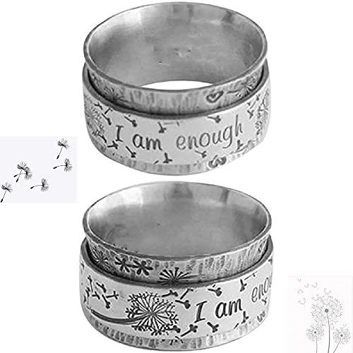 I Am Enough' Anillo de diente de león de meditación giratorio de plata, 2 piezas de anillo de pareja de amor leal, anillo inspirador,anillos de dedo con banda tallada retro,para pareja de amigos(10)