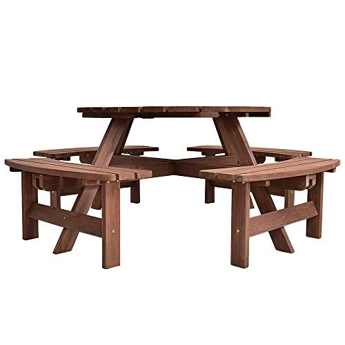 Hypeshops 8 Seat Wood Picnic Table Beer Dining Seat Bench Set Ideal for Garden Yard Picnic