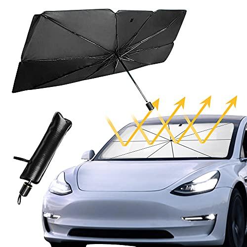 Parasol Coche Delantero, Plegable Paraguas del Coche para Vehículo Protección Rayos UV y Calor Parabrisas, Mantiene el Coche Fresco, para SUV/Automóviles 125*65 CM