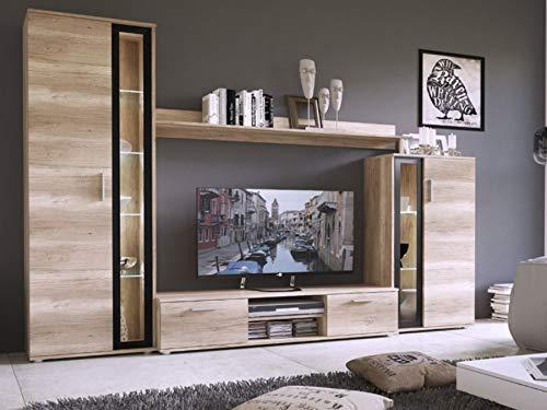 KRYSPOL Wohnwand Bentley Anbauwand, TV-Lowboard, Hängeschränke, Wandboard, Fernsehschrank, Wohnzimmerschran (mit weißer LED Beleuchtung)