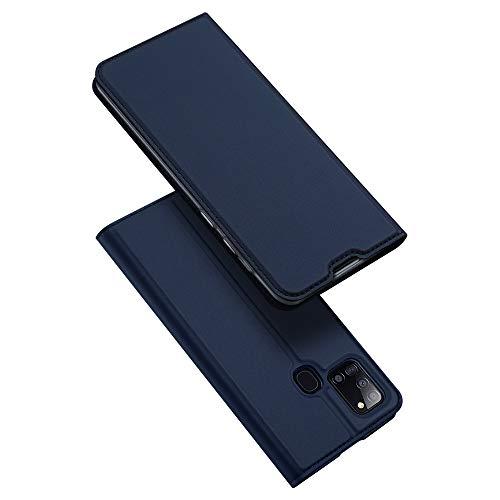 DUX DUCIS Hülle für Samsung Galaxy A21s, Leder Flip Handyhülle Schutzhülle Tasche Case mit [Kartenfach] [Standfunktion] [Magnetverschluss] für Samsung Galaxy A21s (Blau)