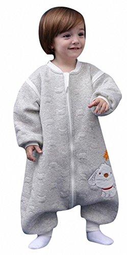 babySchläfsack winter kinderSchlafsack Hund mit Füßen Baumwolle Junge Mädchen unisex ganzjahres Schlafanzug .Neugeborene pyjama/overall /Strampler (80cm.90cm,100cm.0-4 Jahre) (M:90cm 1-3Jahre)Grau)
