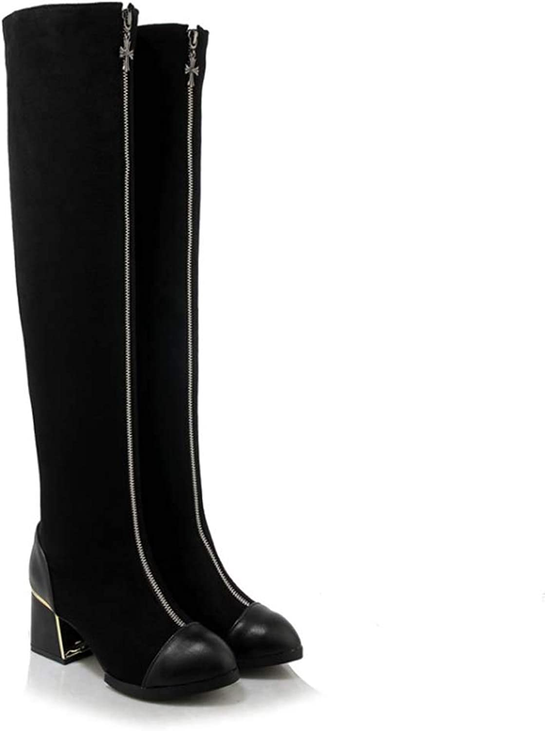 GONGFF Zipper Thick Heel High Heel Over The Knee Boots Small Size Boots Large Size Women's Boots
