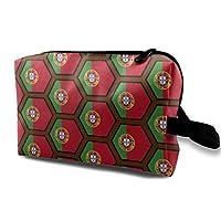 ポルトガルflagハニカムパターン 化粧ポーチ メイクポーチ おしゃれ 財布 機能的 大容量 化粧品収納 小物入れ 普段使い 旅行 ウォッシュバッグ 化粧バッグ レディース