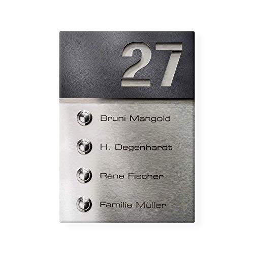 Metzler Funkklingel Mehrfamilien Edelstahl Gravur Name + Hausnummer inkl. 4 x Empfänger (Anthrazit satiniert)