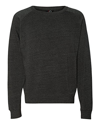 J America J8875 Adult Tri-Blend Fleece Crew - Black Triblend44; Small
