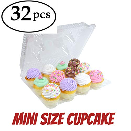 12 mini cupcake containers plastic disposable mini cupcake box, Mini 12-Compartment Cupcake Container, Mini Cupcake Containers dozen cupcake container (32, 12 Mini Cupcake Boxes)