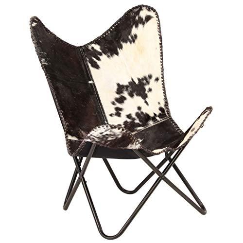 Festnight Butterfly-Sessel | Relaxstuhl Echtleder | Echt Leder Stuhl | Vintage Stühle mit Rückenlehne | Retro Lederstuhl | Schwarz und Weiß Echtes Ziegenleder mit Stahlrahmen 74 x 66 x 90 cm
