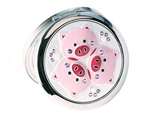 ZGYQGOO Haut Gamme incrusté Perles Strass Trois Petits cochons modèle Portable Pliant Miroir Maquillage Double Face Porter, Argent