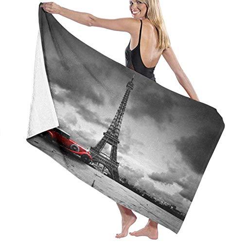 Toalla de arena, Toalla de baño, ArtisticOf Torre Eiffel París Francia Coche Calle Nubes oscuras, Secado rápido, alta absorción, Ligero y fino Toalla de baño suave, Baño de natación, Camping, Yoga, Ej