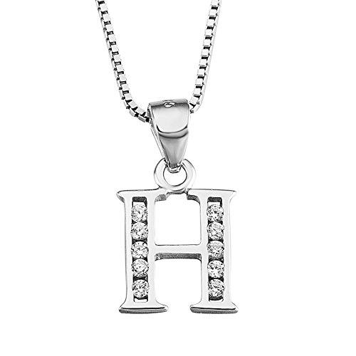 YFN S925 Sterling Silver Cubic Zirconia 26 Letters Alphabet Personalized Charm Pendant Necklace (Alphabet H)