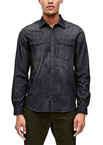 s.Oliver 13.909.21.2536 Camisa Vaquera, Gris (Charcoal Denim Stretch 98z4), Small para Hombre